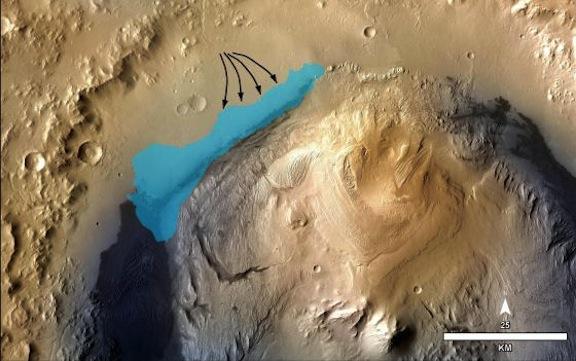 Marte - Lago de agua en cráter Gale
