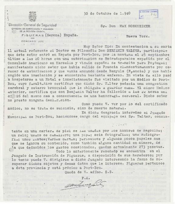Copia de la carta de las autoridades españolas a Horkheimer hecha por Scholem (BNI)